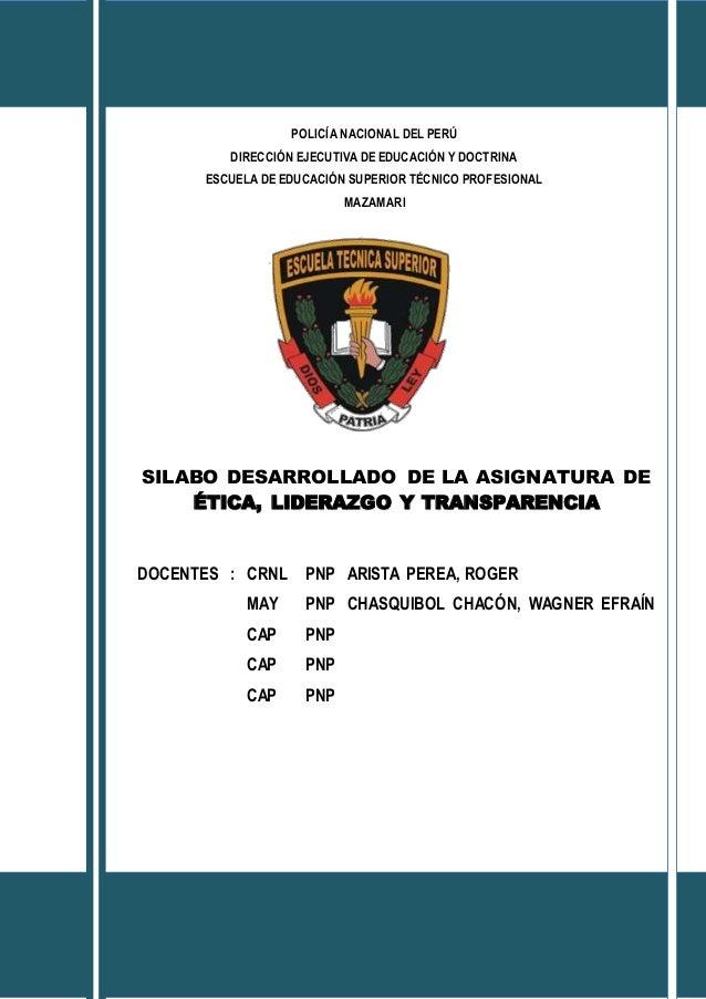 POLICÍA NACIONAL DEL PERÚ DIRECCIÓN EJECUTIVA DE EDUCACIÓN Y DOCTRINA ESCUELA DE EDUCACIÓN SUPERIOR TÉCNICO PROFESIONAL MA...