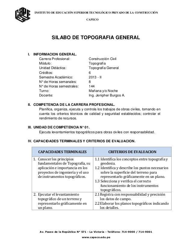INSTITUTO DE EDUCACIÓN SUPERIOR TECNOLÓGICO PRIVADO DE LA CONSTRUCCIÓN CAPECO Av. Paseo de la República N° 571 - La Victor...