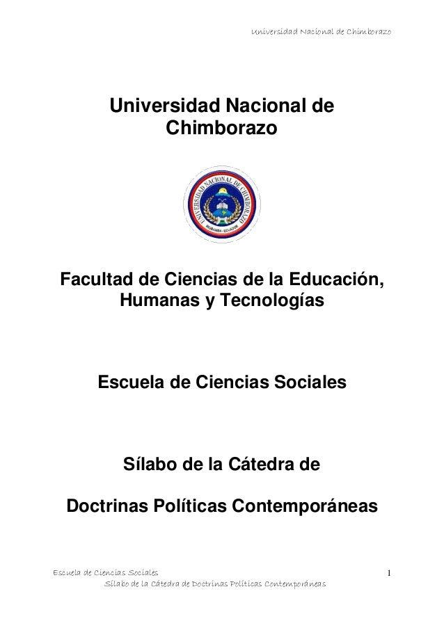 Universidad Nacional de Chimborazo Escuela de Ciencias Sociales Sílabo de la Cátedra de Doctrinas Políticas Contemporáneas...
