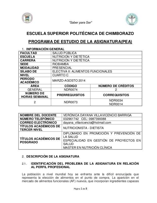 """""""Saber para Ser"""" Página 1 de 8 ESCUELA SUPERIOR POLITÉCNICA DE CHIMBORAZO PROGRAMA DE ESTUDIO DE LA ASIGNATURA(PEA) 1. INF..."""