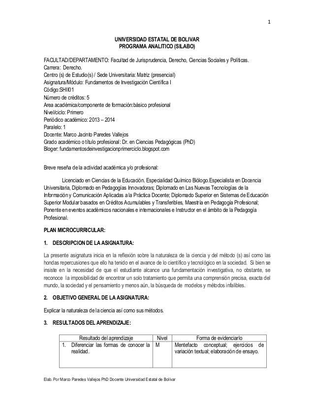 1 Elab. Por Marco Paredes Vallejos PhD Docente Universidad Estatal de Bolívar UNIVERSIDAD ESTATAL DE BOLIVAR PROGRAMA ANAL...