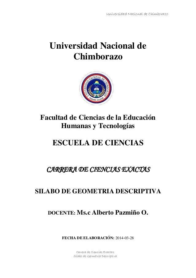 Universidad Nacional de Chimborazo Carrera de Ciencias Exactas Sílabo de Geometría Descriptiva Universidad Nacional de Chi...