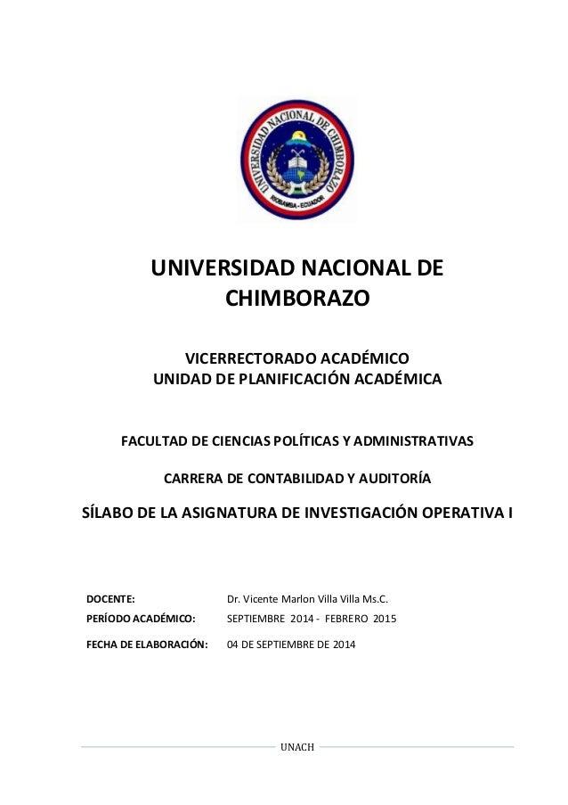 UNIVERSIDAD NACIONAL DE  CHIMBORAZO  VICERRECTORADO ACADÉMICO  UNIDAD DE PLANIFICACIÓN ACADÉMICA  FACULTAD DE CIENCIAS POL...