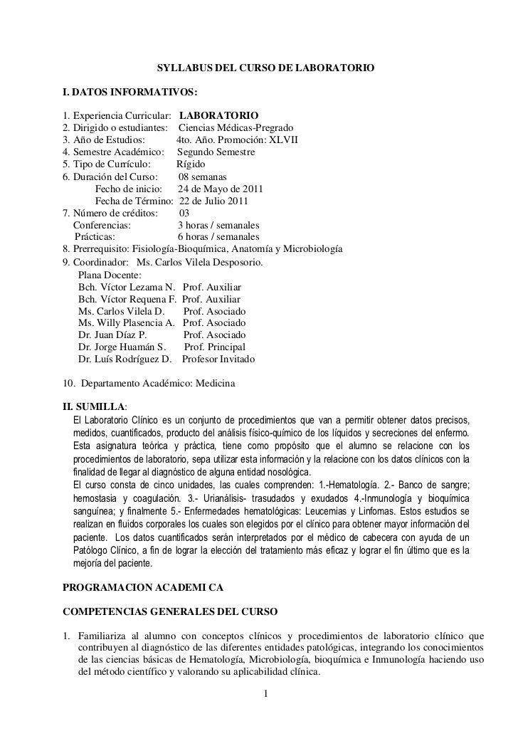 SYLLABUS DEL CURSO DE LABORATORIOI. DATOS INFORMATIVOS:1. Experiencia Curricular: LABORATORIO2. Dirigido o estudiantes: Ci...