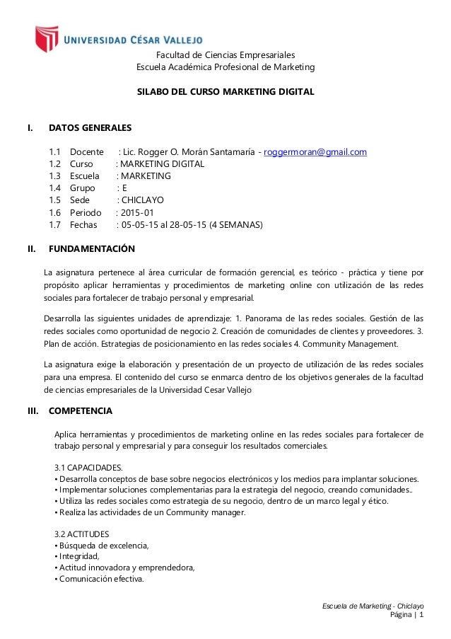 Escuela de Marketing - Chiclayo Página | 1 Facultad de Ciencias Empresariales Escuela Académica Profesional de Marketing S...