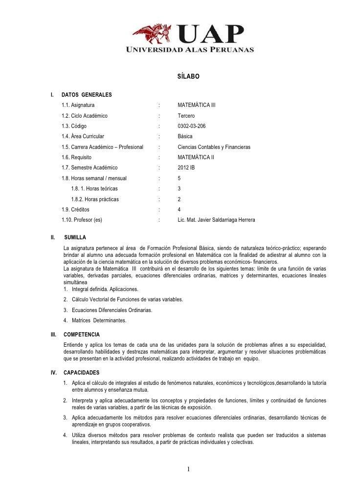 SÍLABOI.     DATOS GENERALES       1.1. Asignatura                            :        MATEMÁTICA III       1.2. Ciclo Aca...