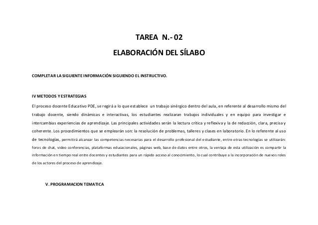 TAREA N.- 02 ELABORACIÓN DEL SÍLABO COMPLETAR LA SIGUIENTE INFORMACIÓN SIGUIENDO EL INSTRUCTIVO. IV METODOS Y ESTRATEGIAS ...