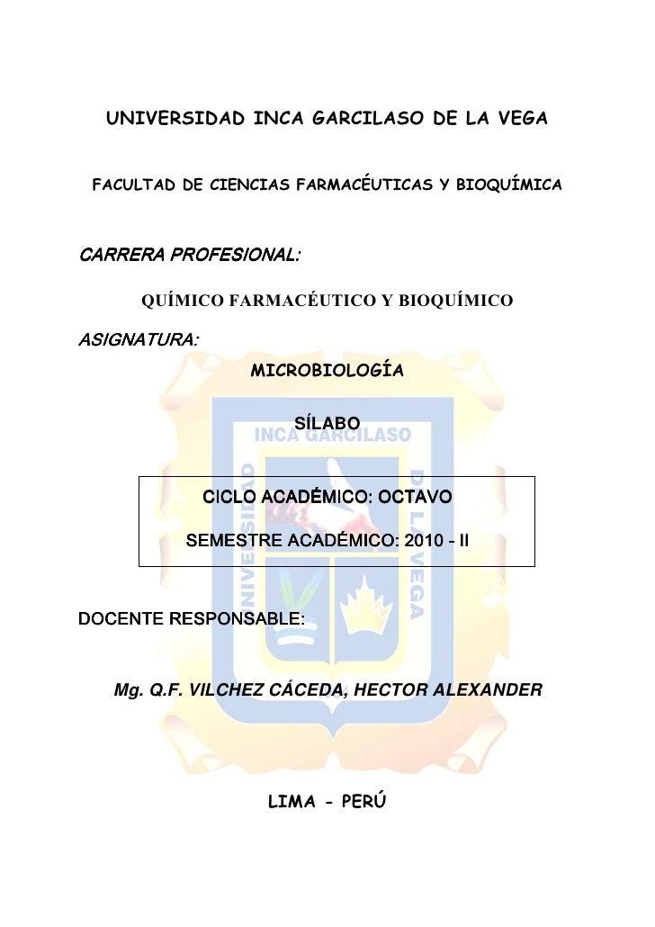 UNIVERSIDAD INCA GARCILASO DE LA VEGA    FACULTAD DE CIENCIAS FARMACÉUTICAS Y BIOQUÍMICA    CARRERA PROFESIONAL:       QUÍ...