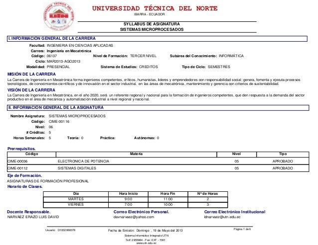 IBARRA - ECUADOR SYLLABUS DE ASIGNATURA UNIVERSIDAD TÉCNICA DEL NORTE Sistema Informático Integrado UTN Telf: 2955884 - Fa...