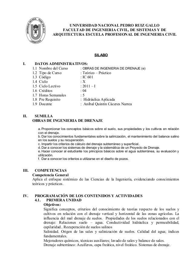 UNIVERSIDAD NACIONAL PEDRO RUIZ GALLOFACULTAD DE INGENIERIA CIVIL, DE SISTEMAS Y DEARQUITECTURA ESCUELA PROFESIONAL DE ING...
