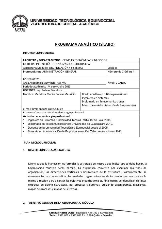 VICERRECTORADO GENERAL ACADÉMICO                           PROGRAMA ANALÍTICO (SÍLABO)INFORMACIÓN GENERALFACULTAD / DEPART...
