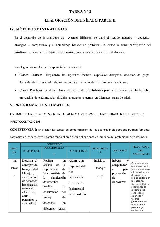 TAREA N° 2 ELABORACIÓN DEL SÍLABO PARTE II IV. MÉTODOS YESTRATEGIAS En el desarrollo de la asignatura de Agentes Bilógicos...
