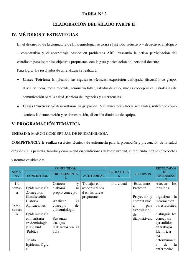 TAREA N° 2 ELABORACIÓN DEL SÍLABO PARTE II IV. MÉTODOS Y ESTRATEGIAS En el desarrollo de la asignatura de Epidemiologia, s...