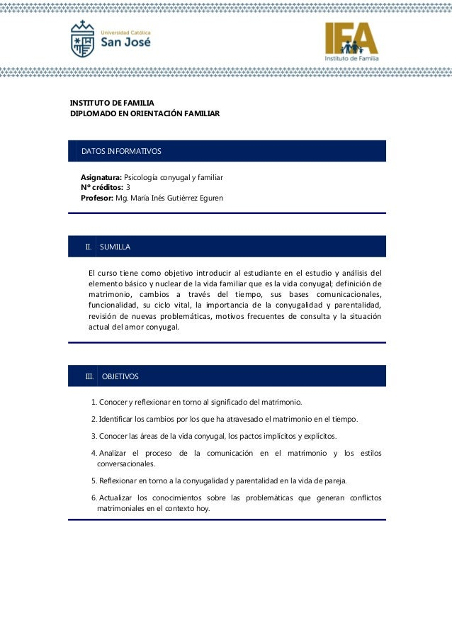 INSTITUTO DE FAMILIA DIPLOMADO EN ORIENTACIÓN FAMILIAR I. DATOS INFORMATIVOS Asignatura: Psicología conyugal y familiar Nº...