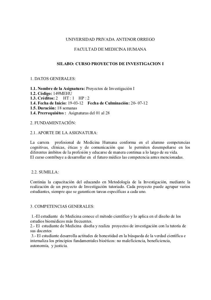UNIVERSIDAD PRIVADA ANTENOR ORREGO                          FACULTAD DE MEDICINA HUMANA                SILABO: CURSO PROYE...