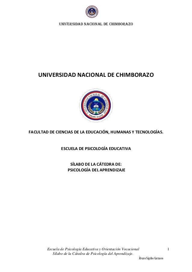 UNIVERSIDAD NACIONAL DE CHIMBORAZOEscuela de Psicología Educativa y Orientación VocacionalSílabo de la Cátedra de Psicolog...