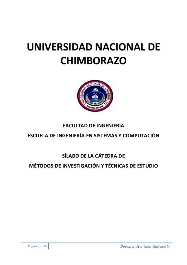 Página 1 de 10 Docente: Dra. Tania Guffante N. UNIVERSIDAD NACIONAL DE CHIMBORAZO FACULTAD DE INGENIERÍA ESCUELA DE INGENI...