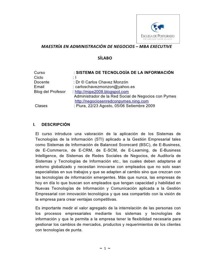 MAESTRÍA EN ADMINISTRACIÓN DE NEGOCIOS – MBA EXECUTIVE                                        SÍLABO  Curso               ...
