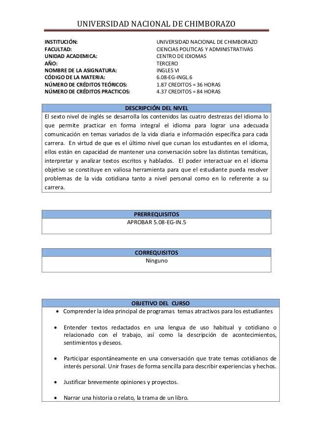 UNIVERSIDAD NACIONAL DE CHIMBORAZO INSTITUCIÓN: UNIVERSIDAD NACIONAL DE CHIMBORAZO FACULTAD: CIENCIAS POLITICAS Y ADMINIST...