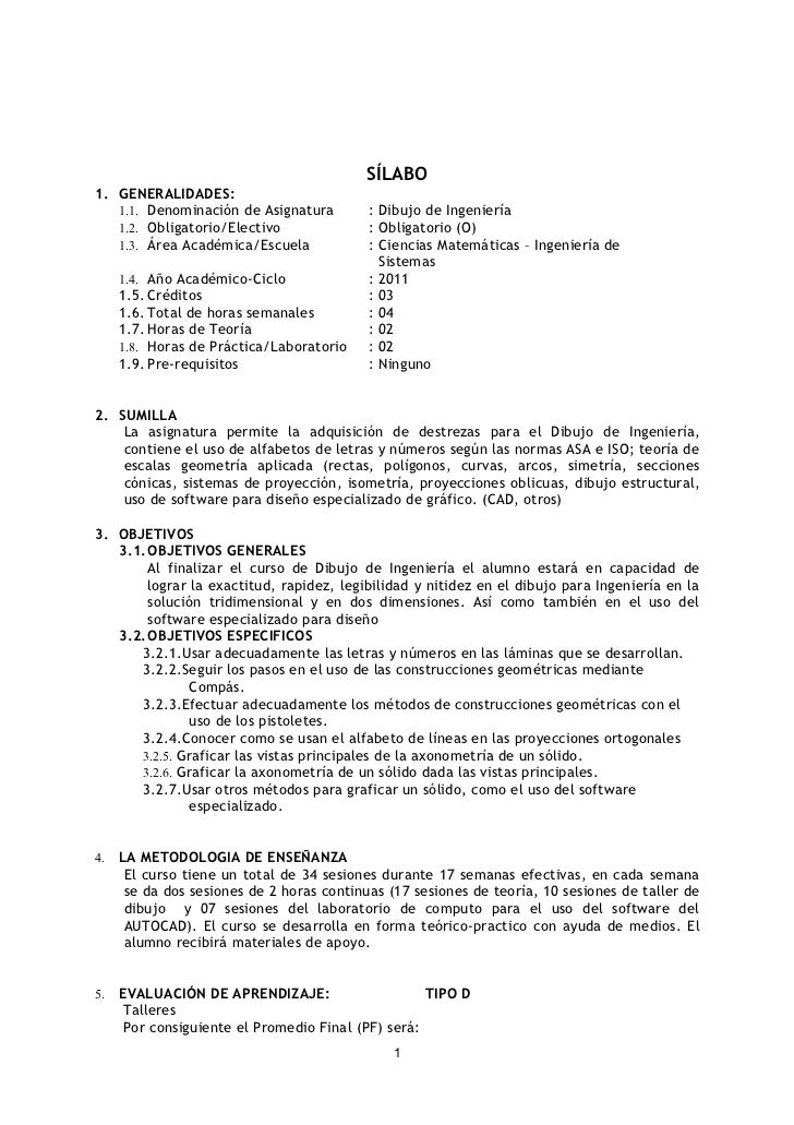 SÍLABO1. GENERALIDADES:   1.1. Denominación de Asignatura         : Dibujo de Ingeniería   1.2. Obligatorio/Electivo      ...