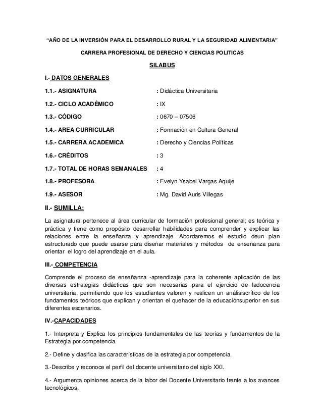 """""""AÑO DE LA INVERSIÓN PARA EL DESARROLLO RURAL Y LA SEGURIDAD ALIMENTARIA"""" CARRERA PROFESIONAL DE DERECHO Y CIENCIAS POLITI..."""