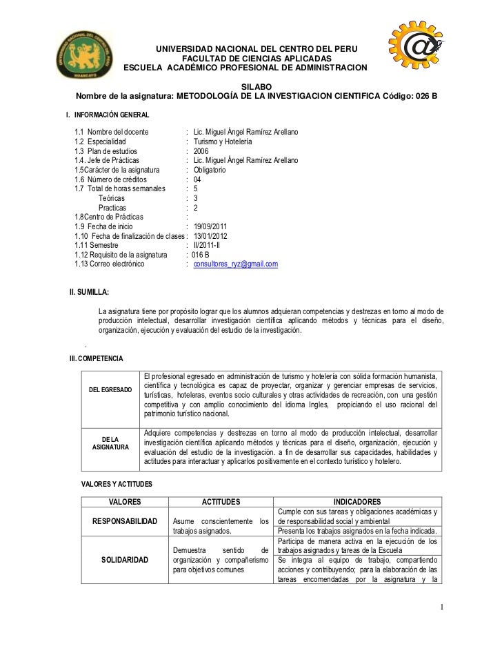 UNIVERSIDAD NACIONAL DEL CENTRO DEL PERU                              FACULTAD DE CIENCIAS APLICADAS                   ESC...