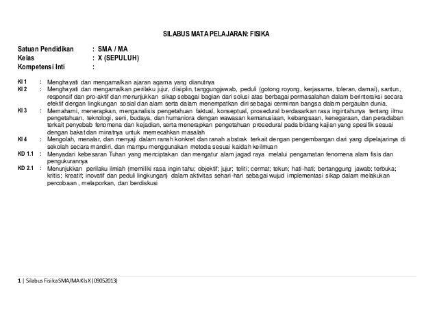 1 | SilabusFisikaSMA/MA KlsX (09052013) SILABUS MATA PELAJARAN: FISIKA Satuan Pendidikan : SMA / MA Kelas : X (SEPULUH) Ko...