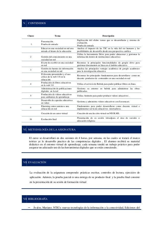 V. CONTENIDOS Clases Tema Descripción 1. Presentación. Prueba de entrada Explicación del sílabo: temas que se desarrollará...