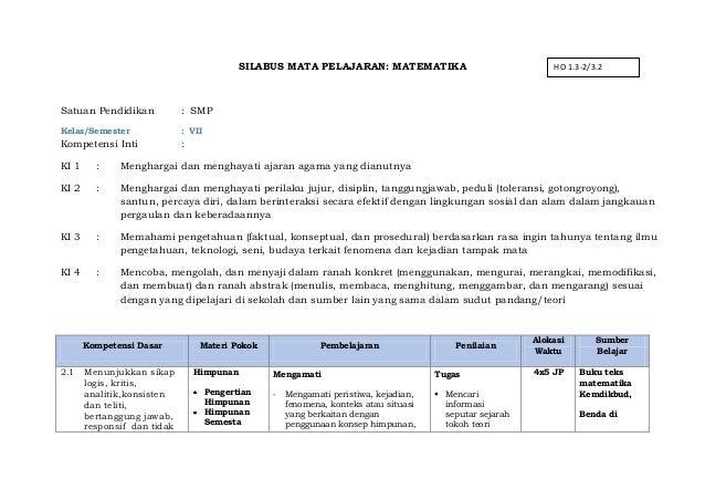 Rpp Matematika Smp Kelas 7 Kurikulum 2013 Pdf