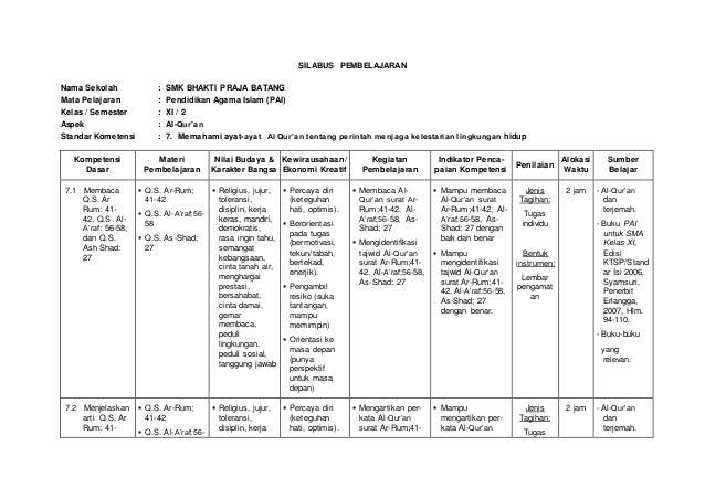SILABUS PEMBELAJARAN Nama Sekolah : SMK BHAKTI PRAJA BATANG Mata Pelajaran : Pendidikan Agama Islam (PAI) Kelas / Semester...