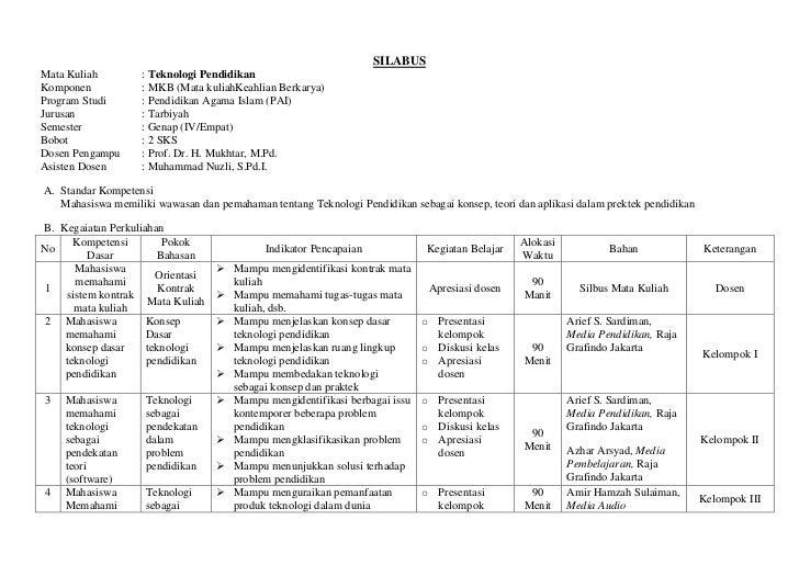 SILABUS<br />Mata Kuliah:Teknologi Pendidikan<br />Komponen:MKB (Mata kuliah Keahlian Berkarya)<br />Program Studi:Pendidi...