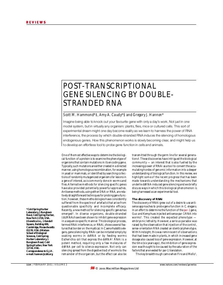 REVIEWS                             POST-TRANSCRIPTIONAL                             GENE SILENCING BY DOUBLE-            ...