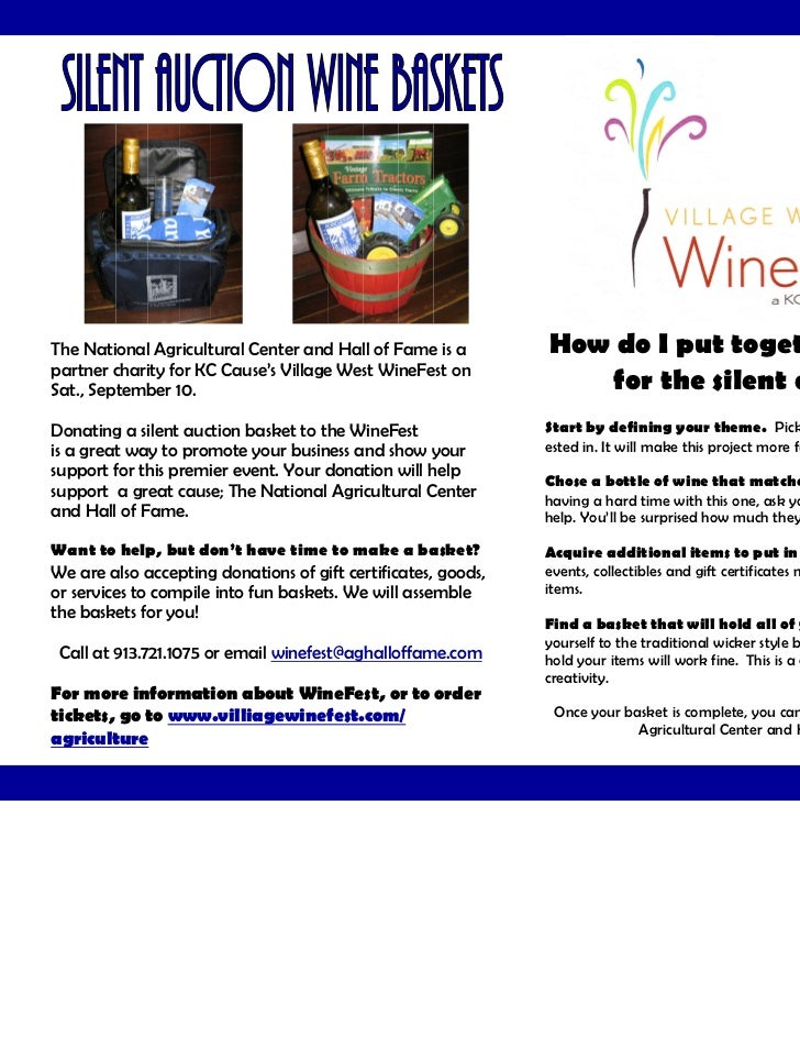 silent auction basket flyer and instructions