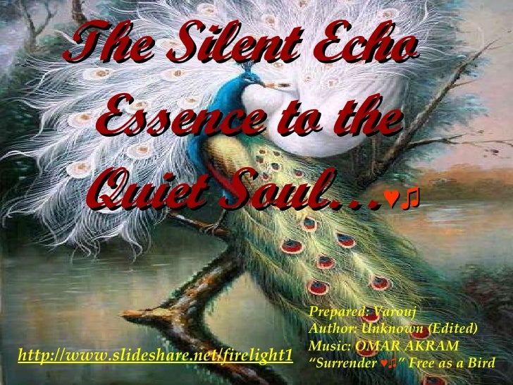 """The Silent Echo  Essence to the  Quiet Soul… ♥♫ Prepared: Varouj Author: Unknown (Edited) Music: OMAR AKRAM """" Surrender  ♥..."""