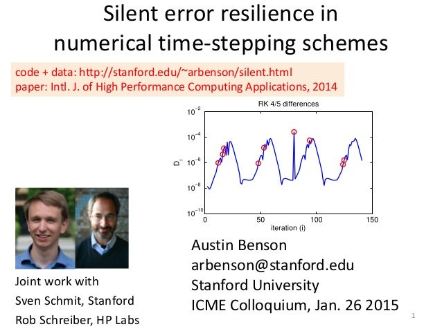 Silent error resilience in numerical time-stepping schemes Austin Benson arbenson@stanford.edu Stanford University ICME Co...