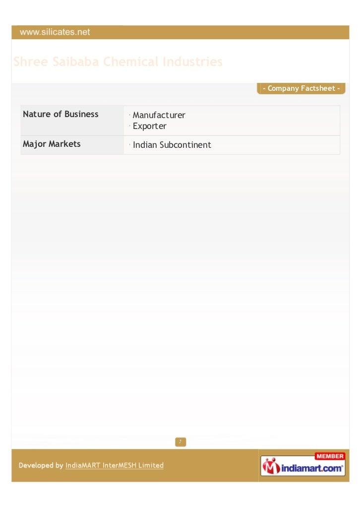 Shree Saibaba Chemical Industries                                            - Company Factsheet - Nature of Business   Ma...