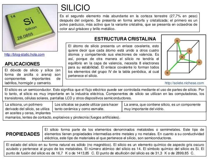 SILICIO                                       Es el segundo elemento más abundante en la corteza terrestre (27,7% en peso)...