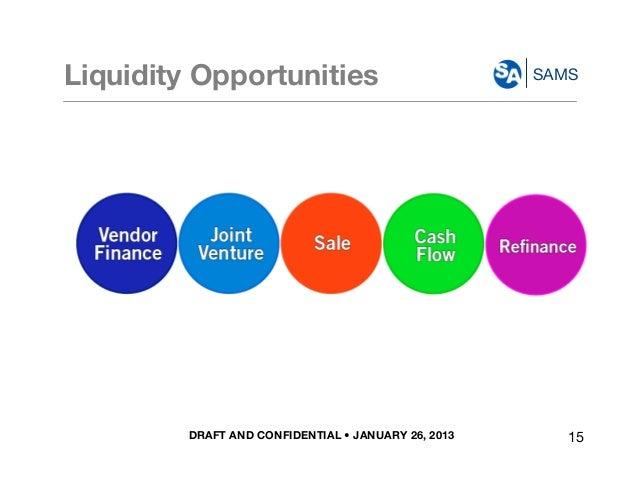 DRAFT AND CONFIDENTIAL • JANUARY 26, 2013 SAMSLiquidity Opportunities Vendor Finance Joint Venture Cash Flow Sale Refinance...