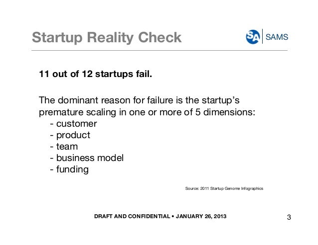 DRAFT AND CONFIDENTIAL • JANUARY 26, 2013 SAMSStartup Reality Check 11 out of 12 startups fail. The dominant reason for fa...