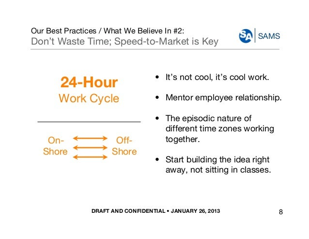 DRAFT AND CONFIDENTIAL • JANUARY 26, 2013 SAMS Our Best Practices / What We Believe In #2: Don't Waste Time; Speed-to-Mark...