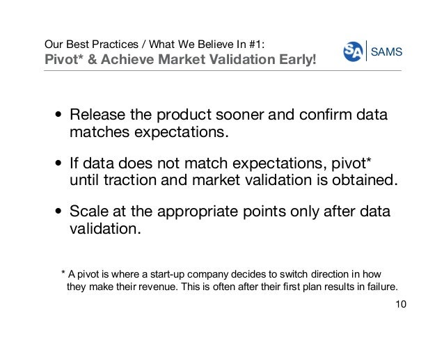 SAMS Our Best Practices / What We Believe In #1: Pivot* & Achieve Market Validation Early! • Release the product sooner an...