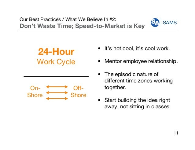 SAMS Our Best Practices / What We Believe In #2: Don't Waste Time; Speed-to-Market is Key • It's not cool, it's cool work....
