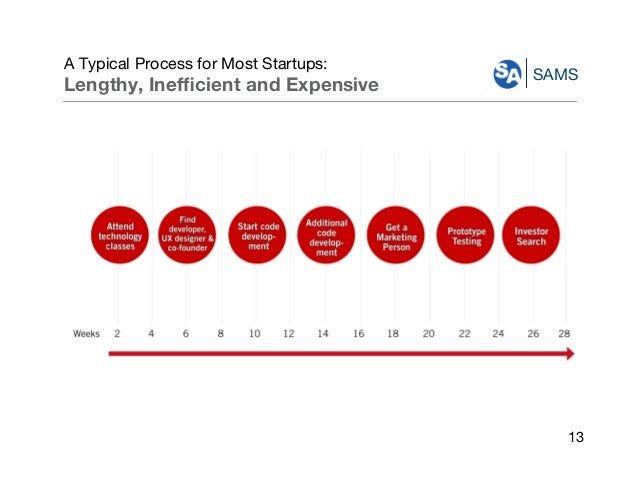 SAMS A Typical Process for Most Startups: Lengthy, Inefficient and Expensive 13