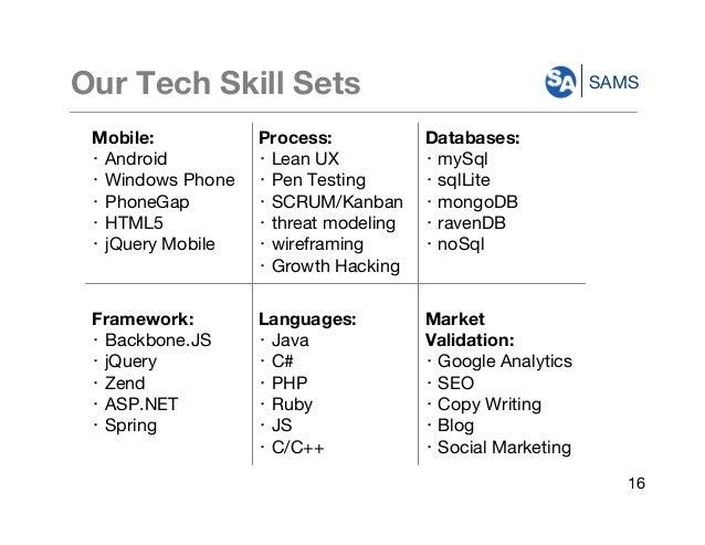 SAMSOur Tech Skill Sets Mobile: ・ Android ・ Windows Phone ・ PhoneGap ・ HTML5 ・ jQuery Mobile Process: ・ Lean UX ・ Pen Test...