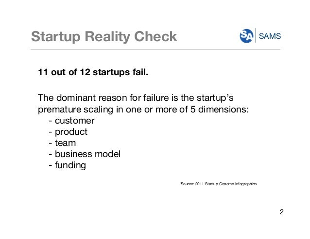 SAMSStartup Reality Check 11 out of 12 startups fail. The dominant reason for failure is the startup's premature scaling i...