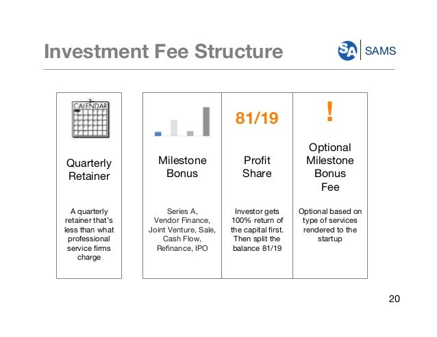 SAMSInvestment Fee Structure 81/19 ! Quarterly Retainer Milestone Bonus Profit Share Optional Milestone Bonus Fee A quarter...