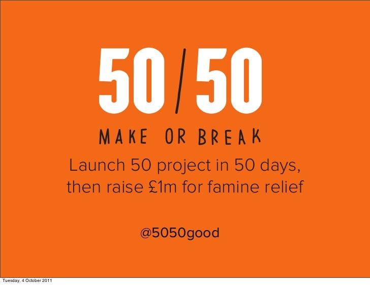 Launch 50 project in 50 days,                          then raise £1m for famine relief                                   ...