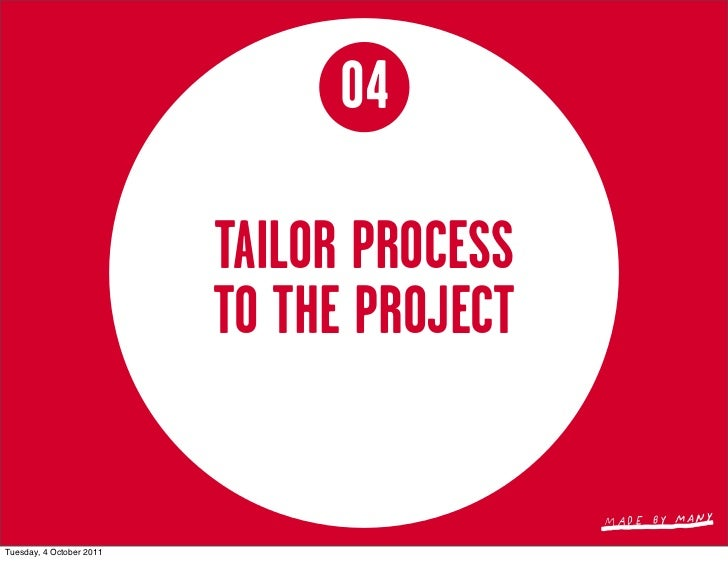 04                          TAILOR PROCESS                          TO THE PROJECTTuesday, 4 October 2011