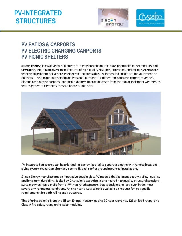 PV PATIOS & CARPORTSPV ELECTRIC CHARGING CARPORTSPV PICNIC SHELTERSSilicon Energy, innovative manufacturer of highly durab...
