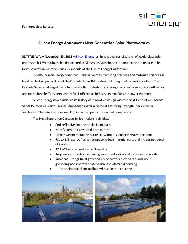 For Immediate Release           Silicon Energy Announces Next Generation Solar PhotovoltaicsSEATTLE, WA. – November 15, 20...